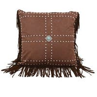 HiEnd Accents Faux LeatherThrow Pillow W Concho And Studs 18X18