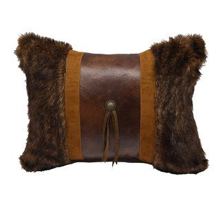 HiEnd Accents Multicolor Faux Fur 16-inch x 21-inch Throw Pillow with Concho and Fringe