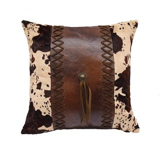 HiEnd Accents Multicolor Faux Leather 18-inch x 18-inch Throw Pillow with Cowhide and Concho