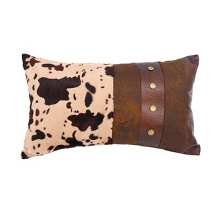 HiEnd Accents Cowhide and Faux Leather Throw Pillow with Studs