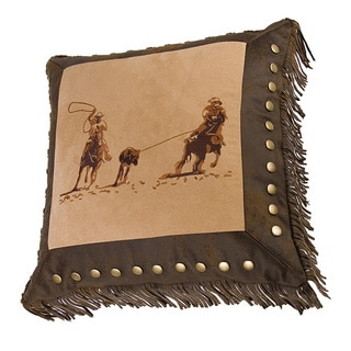 HiEnd Accents Team Roper Dark Tan 18-inch Embroidered Square Throw Pillow