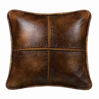 HiEnd Accents Cross Stitched Brown Faux Leather 18-inch Square Throw Pillow