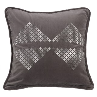HiEnd Accents Grey 18-inch x 18-inch Embroidered Diamond Throw Pillow