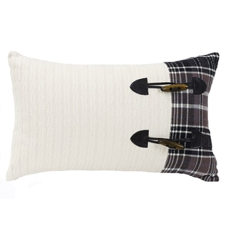 HiEnd Accents Whistler White Cotton Toggle Oblong Throw Pillow