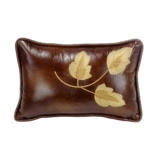 HiEnd Accents Embroidery Leaf Brown 12x19 Throw Pillow