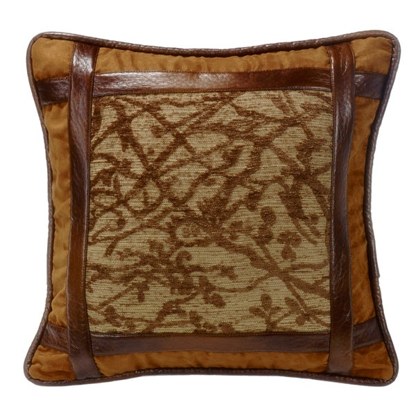 HiEnd Accents Framed Tree Multicolor 18-inch x 18-inch Throw Pillow with Faux Leather Detail
