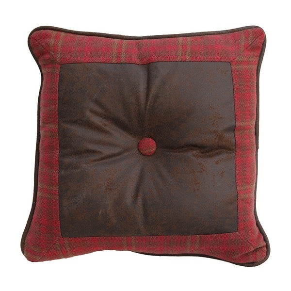 HiEnd Accents Brown Faux Leather and Red Plaid 18-inch Square Throw Pillow