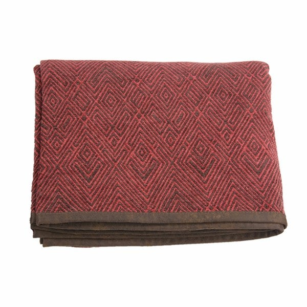 HiEnd Accents Wilderness Ridge Red Chenille Quilted Throw