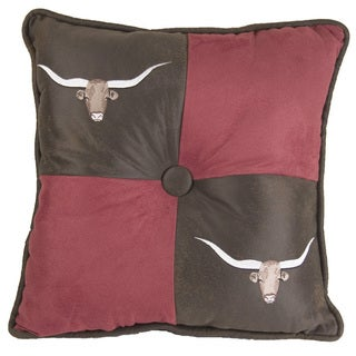 HiEnd Accents Embroidered Longhorn Red/Brown 18-inch x 18-inch Throw Pillow