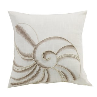 HiEnd Accents White Seashell Embroidery 18x18 Throw Pillow