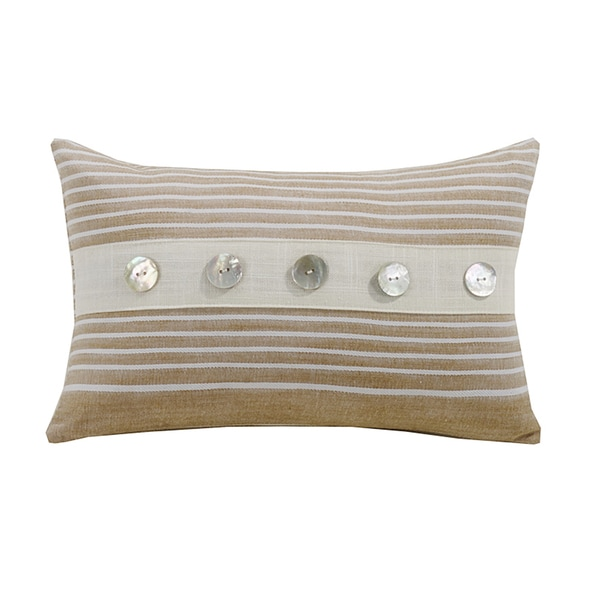 HiEnd Accents White and Beige Small Striped Throw Pillow