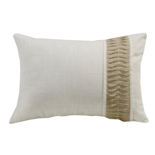 HiEnd Accents Rouching Detail White Linen 16-inch by 24-inch Throw Pillow