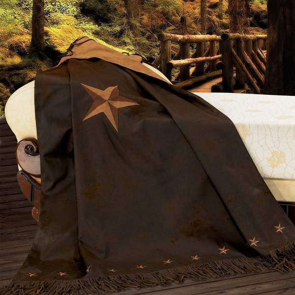 HiEnd Accents Embroidered Star Chocolate Brown 50-inch x 60-inch Throw