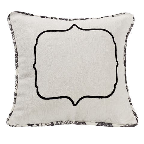 HiEnd Accents Matelasse Throw Pillow With Embroidery Detail, 18x18