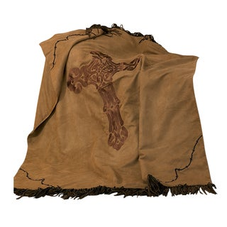 HiEnd Accents Barbwire Cross Tan 50x60 Throw