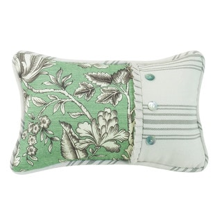 HiEnd Accents White/ Green Floral Throw Pillow with Woven Stripe and Pearlized Button Detail