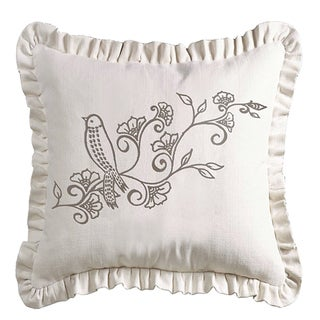 HiEnd Accents White Linen 20 x 20-inch Woven Ruffled Embroidery Detail Throw Pillow