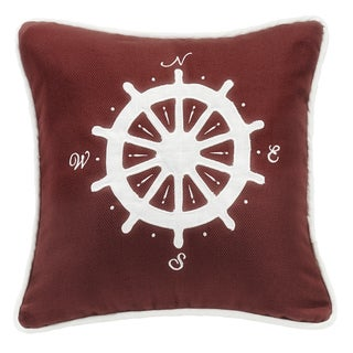 HiEnd Accents Compass Red 18-inch Square Embroidered Throw Pillow