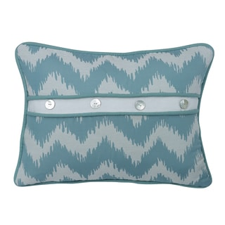 HiEnd Accents Chevron Print Blue 16-inch x 21-inch Throw Pillow with Button Details