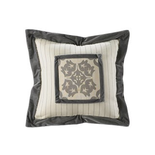 HiEnd Accents Grey Cotton 18x18 Striped Embroidery Throw Pillow