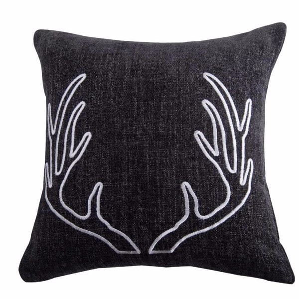 HiEnd Accents Grey Chenille DecoThrow Pillow With Embroidery White Antlers 18X18