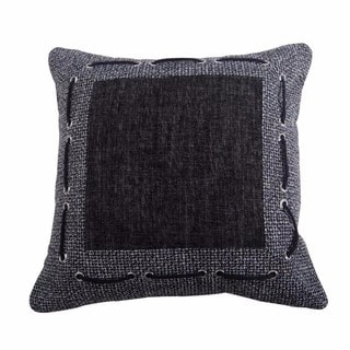 "HiEnd Accents Multicolored Tweed And Chenille Framed Throw Pillow Laced Rope Detail (18"" x 18"")"