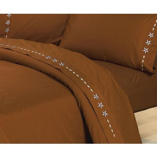 HiEnd Accents Embroidered Star Sheet Set Calking Copper