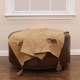 HiEnd Accents Embroidered Pine Cone Tan Throw