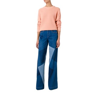 Stella McCartney Wide Leg Patchwork High Rise Jeans