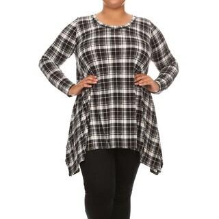 Women's Plus Size Black Plaid Tunic