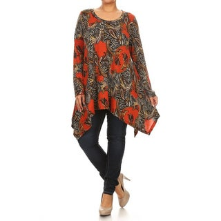 Women's Plus Size Abstract Animal Pattern Tunic