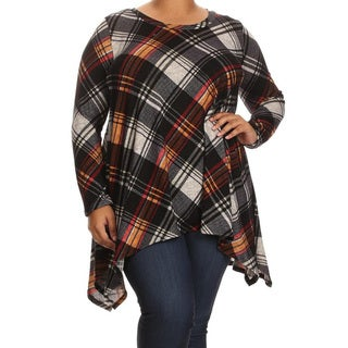 Women's Plus Size Multicolor Peach Plaid Tunic