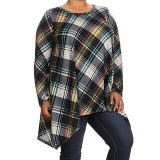 Women's Plus Size Multicolor Yellow Plaid Tunic