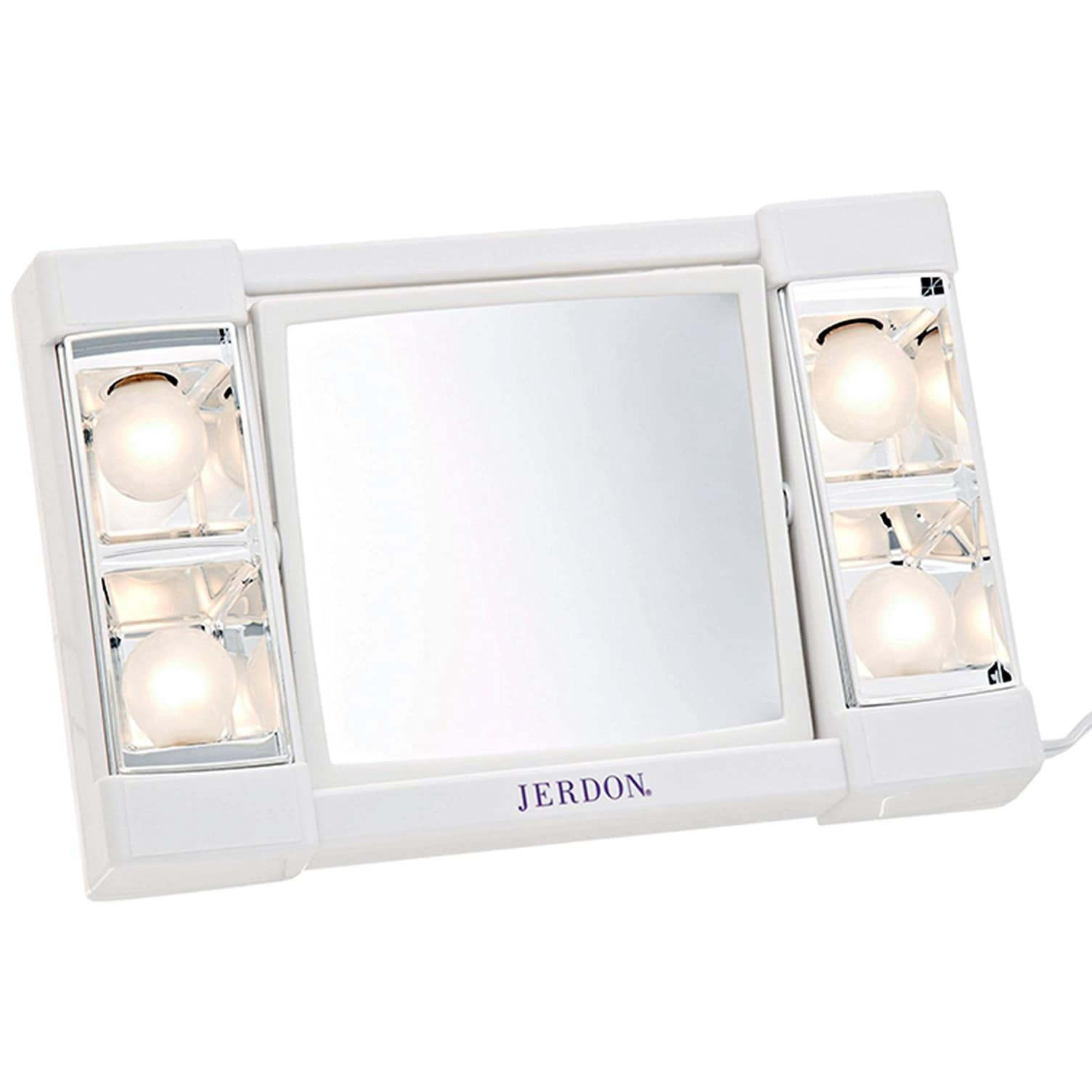 Jerdon J1010 6-Inch Portable Lighted Mirror with 3x Magni...
