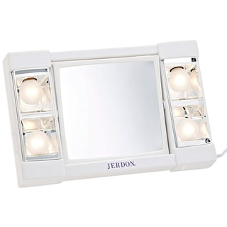 Jerdon J1010 6-Inch Portable Lighted Mirror with 3x Magnification