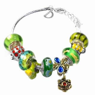 De Buman Multi-color Glass & Enamel Beads Charm Bracelet, 6.7''+1.18''extender|https://ak1.ostkcdn.com/images/products/15913185/P22316587.jpg?impolicy=medium