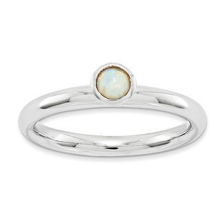 Sterling Silver Affordable Expressions High 4mm Rd. Created Opal Ring