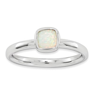 Sterling Silver Affordable Expressions Cushion Cut Created Opal Ring