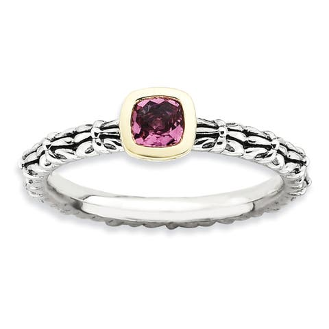 Sterling Silver and 14 Karat Affordable Expressions Checker-cut Pink Tourmaline Ring
