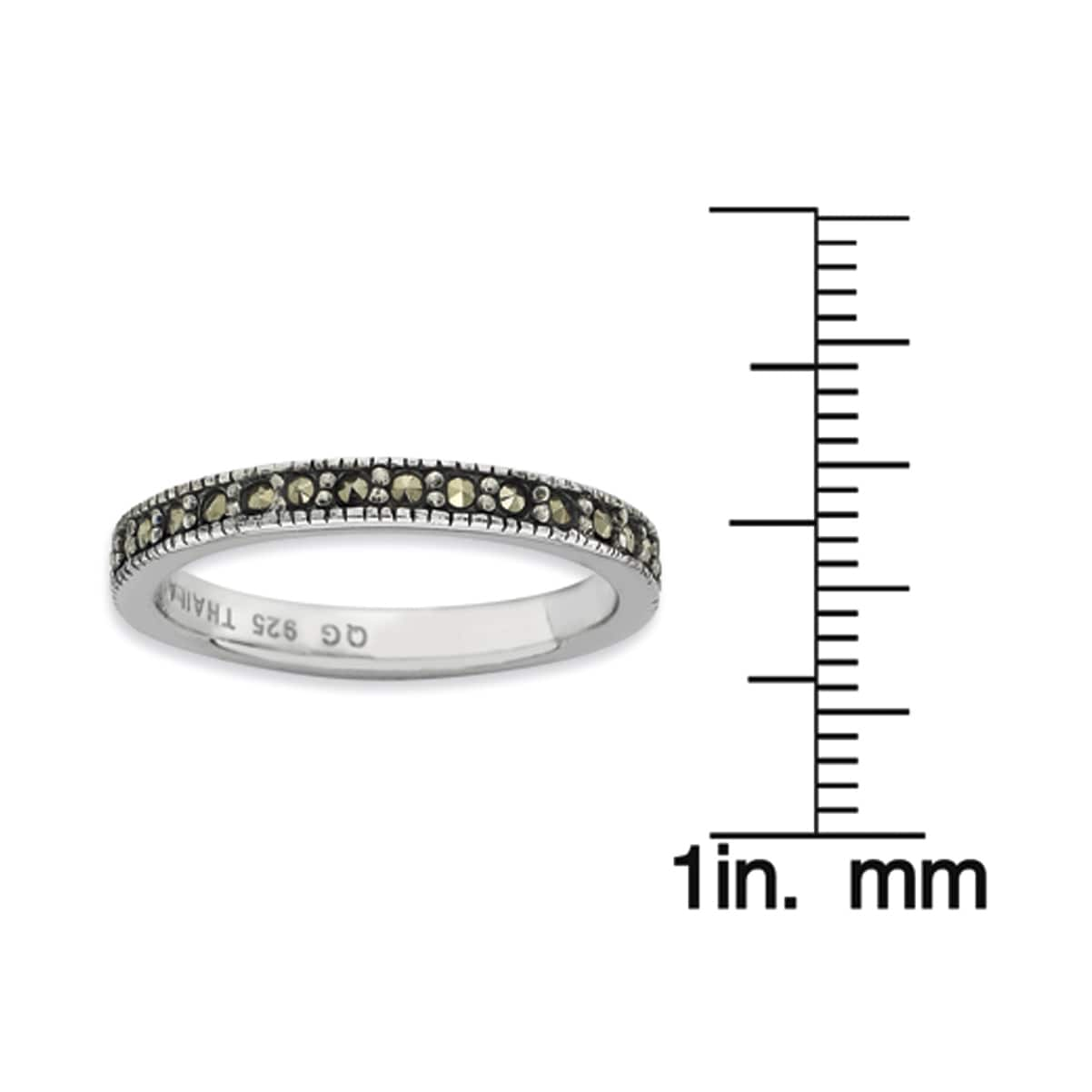 Sterling Silver Stackable Expressions Marcasite Ring 3 mm Band QSK816