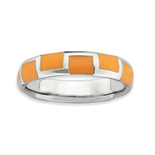 Sterling Silver Affordable Expressions Polished Orange Enameled Ring (5 options available)