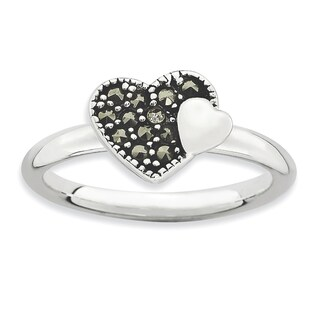 Sterling Silver Affordable Expressions Marcasite Heart Ring