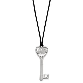 Sterling Silver Heart Key On Silk cord Necklace