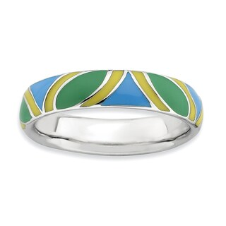 Sterling Silver Affordable Expressions Multi color Enameled Ring