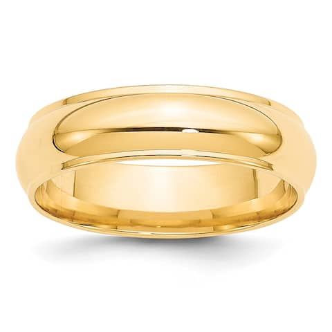 14K Yellow Gold 6mm Half Round with Edge Polished Band by Versil
