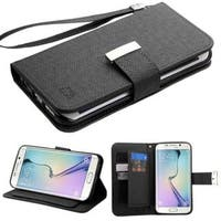 Insten Leatherette Case Cover Lanyard with Stand/ Wallet Flap Pouch For Samsung Galaxy S6 Edge