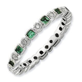 Sterling Silver Stack Exp Polished Created Emerald & Diamond Ring