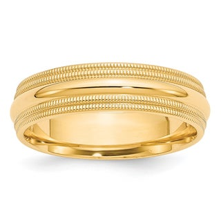 Link to 14K Yellow Gold Polished 6mm Double Milgrain Comfort Fit Band by Versil Similar Items in Rings