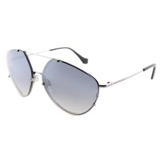 Balenciaga BA 0085 14C Shiny Light Ruthenium Metal Geometric Aviator Sunglasses with Smoke Mirror Lenses