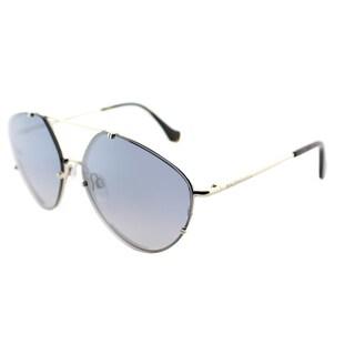 Balenciaga BA 0085 33C Gold Metal Aviator Sunglasses with Smoke Mirror Lens